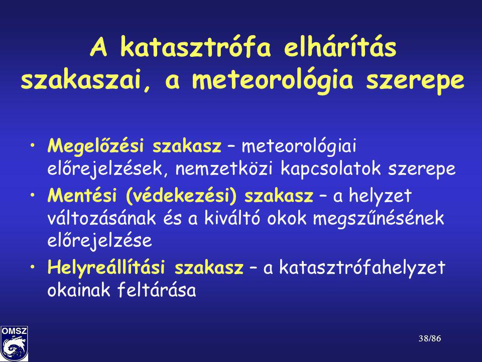 38/86 A katasztrófa elhárítás szakaszai, a meteorológia szerepe •Megelőzési szakasz – meteorológiai előrejelzések, nemzetközi kapcsolatok szerepe •Men