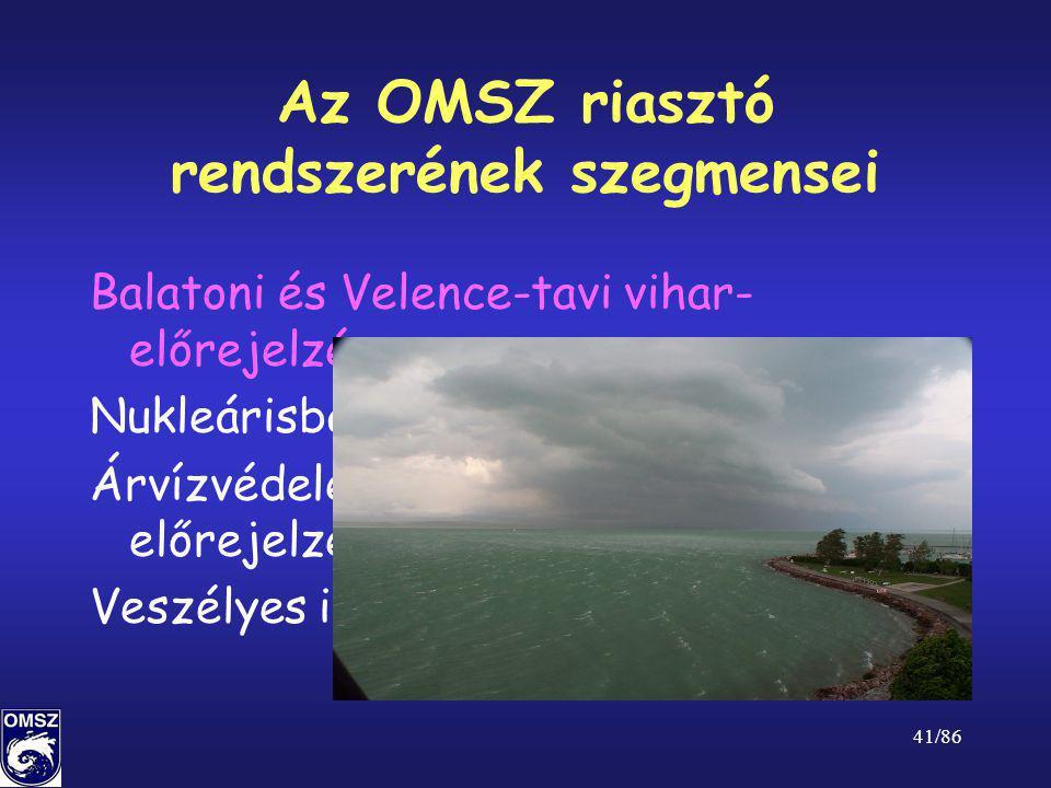 41/86 Az OMSZ riasztó rendszerének szegmensei Balatoni és Velence-tavi vihar- előrejelzés Nukleárisbaleset-elhárítás Árvízvédelemmel kapcsolatos előre