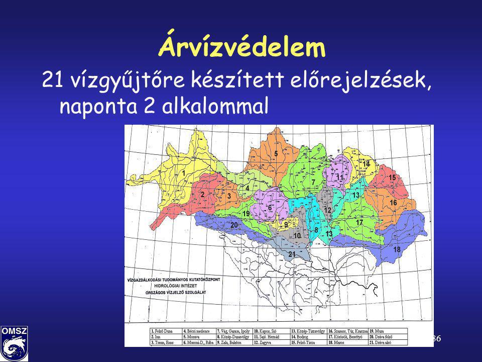 52/86 Árvízvédelem 21 vízgyűjtőre készített előrejelzések, naponta 2 alkalommal