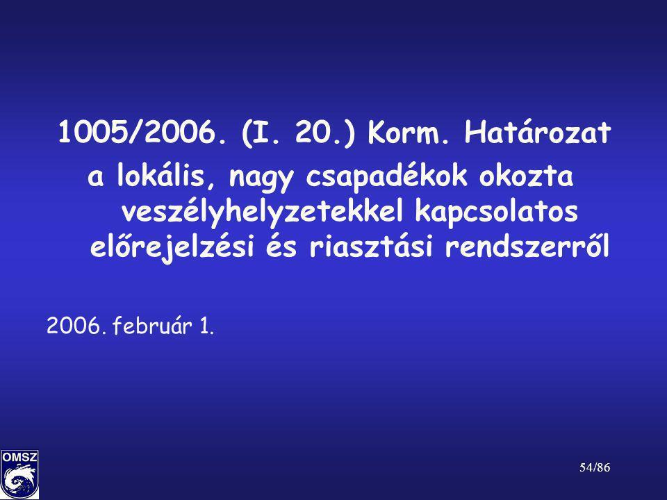 54/86 1005/2006. (I. 20.) Korm. Határozat a lokális, nagy csapadékok okozta veszélyhelyzetekkel kapcsolatos előrejelzési és riasztási rendszerről 2006