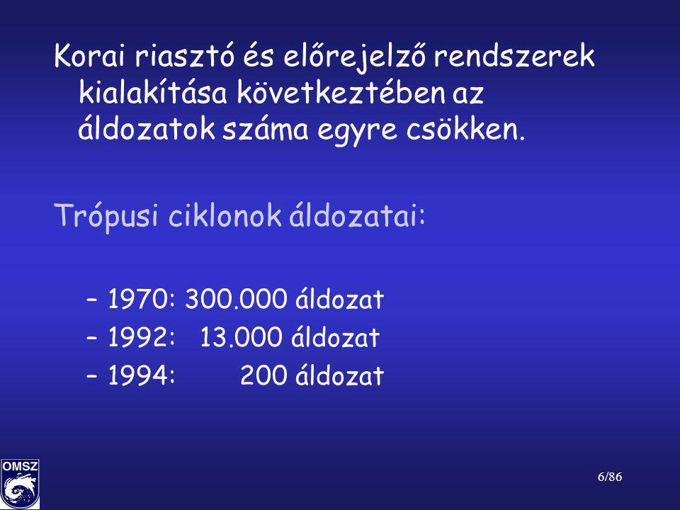 27/86 Makro léptékű jelenségek •Ciklonok időjárása (akár több napig tartó intenzív csapadék – hó, eső) •Anticiklonok időjárása (tartós meleg – hőhullám, aszály) •Trópusi ciklonok