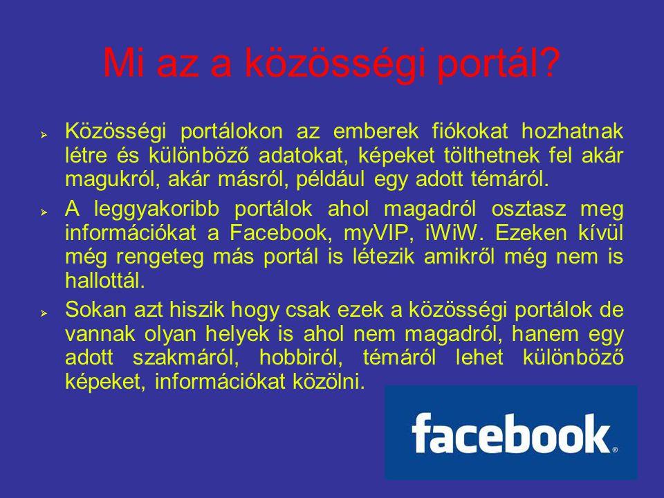 Mi az a közösségi portál?  Közösségi portálokon az emberek fiókokat hozhatnak létre és különböző adatokat, képeket tölthetnek fel akár magukról, akár
