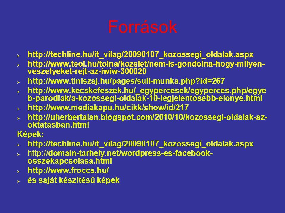 Források  http://techline.hu/it_vilag/20090107_kozossegi_oldalak.aspx  http://www.teol.hu/tolna/kozelet/nem-is-gondolna-hogy-milyen- veszelyeket-rej