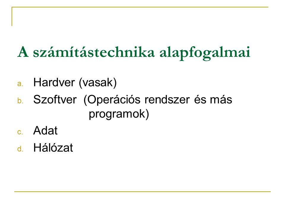 A számítástechnika alapfogalmai a.Hardver (vasak) b.