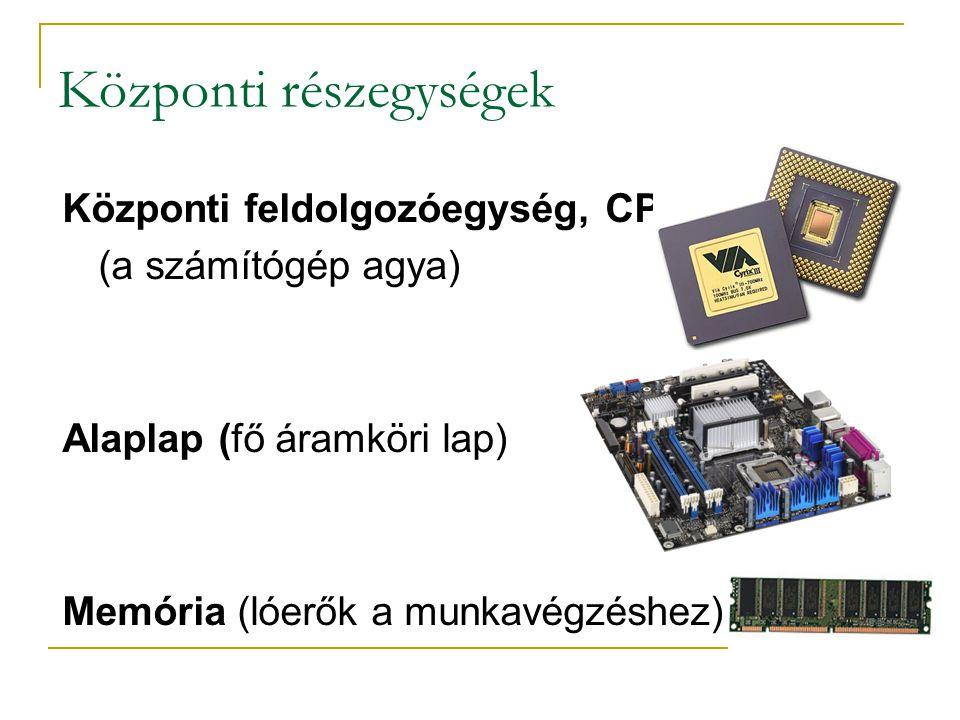 Központi részegységek Központi feldolgozóegység, CPU (a számítógép agya) Alaplap (fő áramköri lap) Memória (lóerők a munkavégzéshez)
