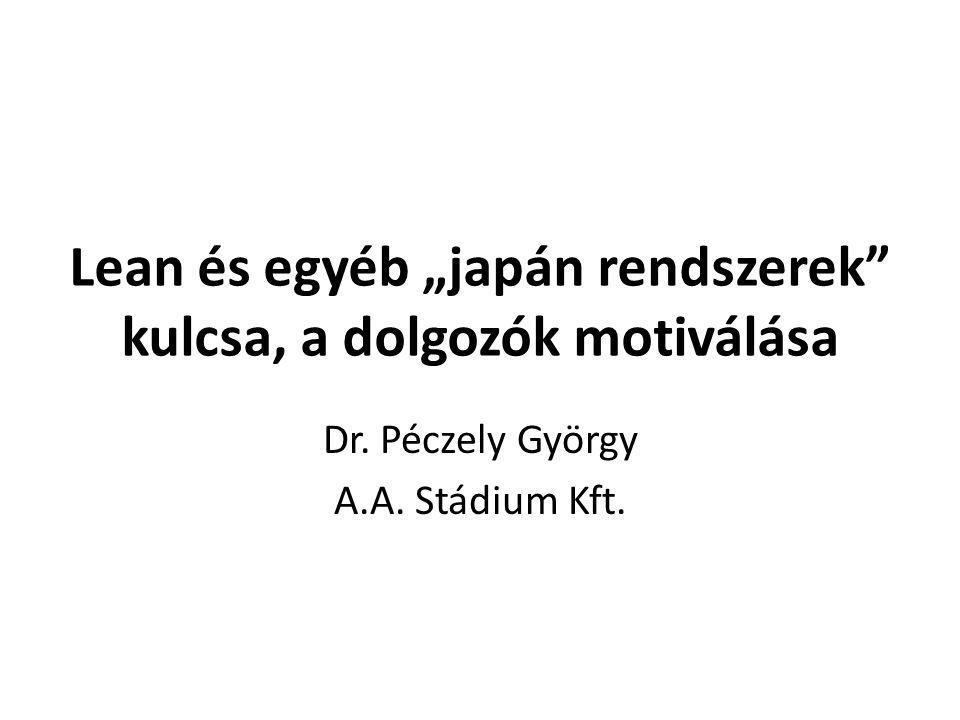 """Lean és egyéb """"japán rendszerek"""" kulcsa, a dolgozók motiválása Dr. Péczely György A.A. Stádium Kft."""