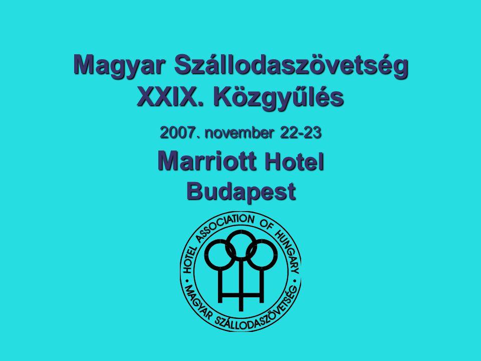 Szervezetünk Szervezetünk A Tagság: - 360 szálloda (32 735 szoba a magyar szállodaipar szobakapacitásának 78%) - 5 szállodalánc - 101 társult tag - 22 oktatási intézmény - 17 étterem Új tagfelvétel: 12 szálloda, 16 társult tag, 1 oktatási intézmény 1 oktatási intézmény Tagdíjfizetés: 97%