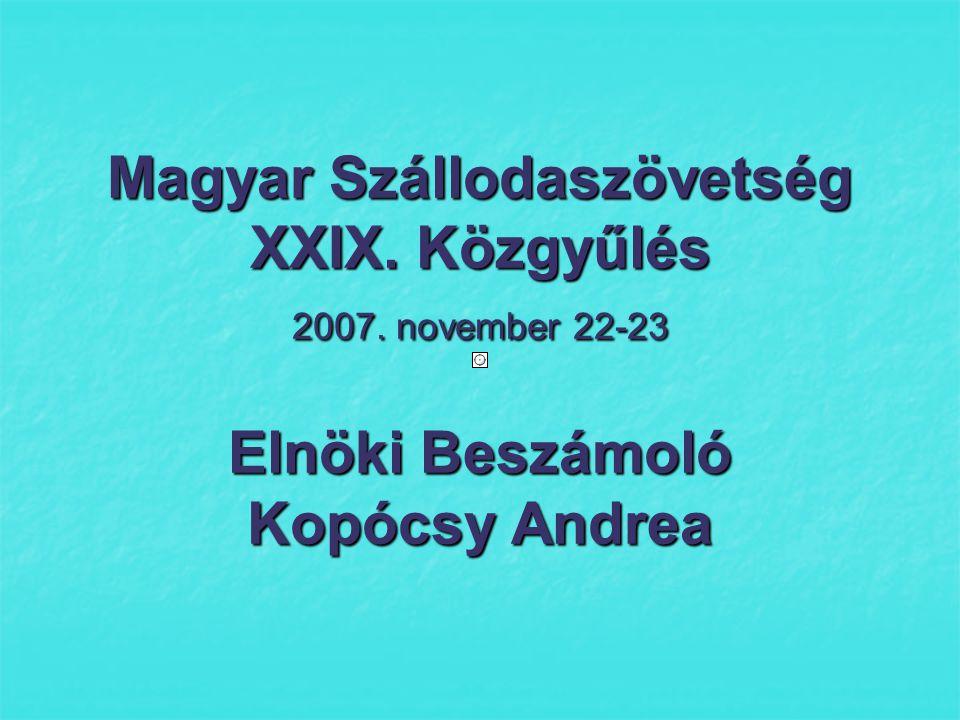 A magyar szállodaipar teljesítménye 2007 jan-szept /KSH adatok- Kereskedelmi szálláshelyek: ebből szállodák / A magyar szállodaipar teljesítménye 2007 jan-szept /KSH adatok- Kereskedelmi szálláshelyek: ebből szállodák / 809 működő szálloda 47,7 ezer szoba +3,2% kapacitásnövekedés országos szinten Vendégéjszaka: 2007/06 2006/05 10,90 millió +0,6% -0,9% 10,90 millió +0,6% -0,9%  Külföldi 6,2 millió -2% -7,8% !.