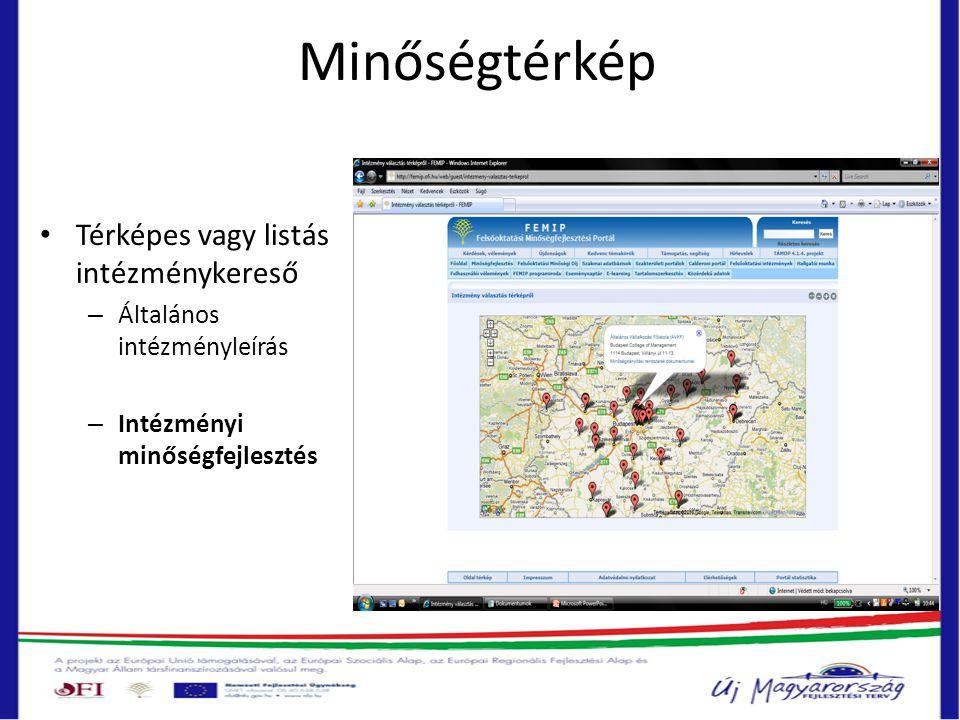 Minőségtérkép • Térképes vagy listás intézménykereső – Általános intézményleírás – Intézményi minőségfejlesztés