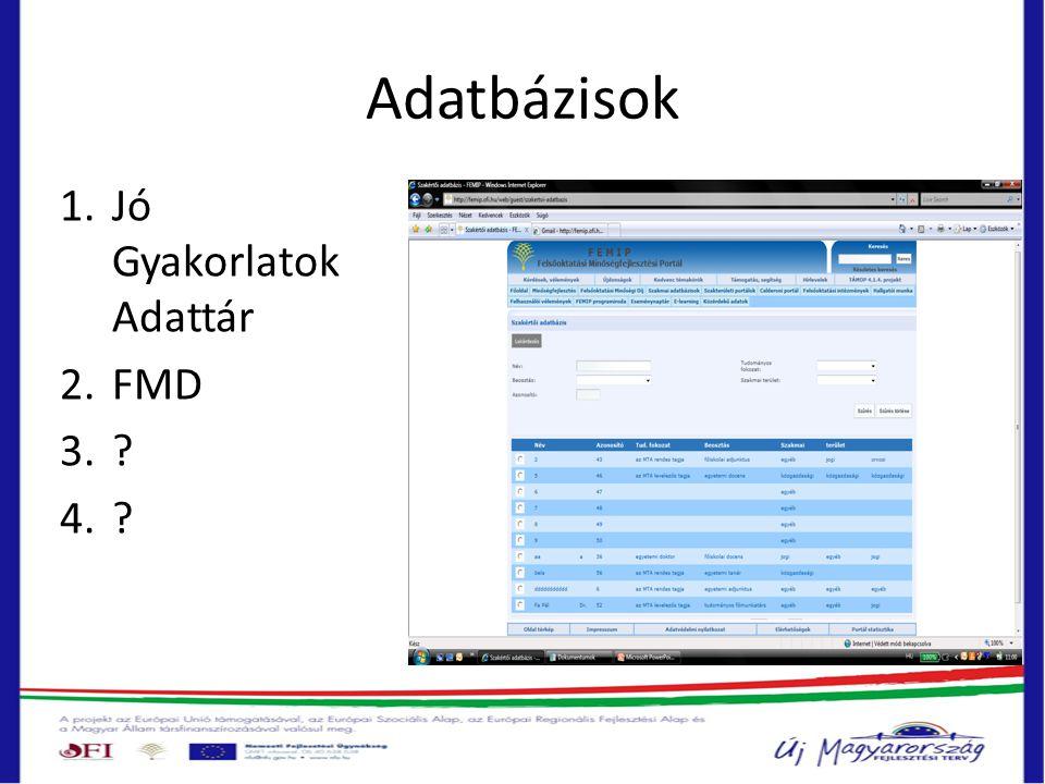 Adatbázisok 1.Jó Gyakorlatok Adattár 2.FMD 3. 4.
