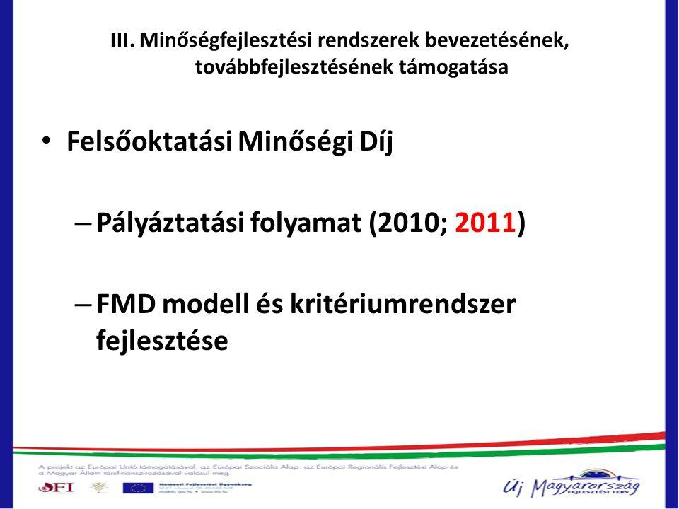 III. Minőségfejlesztési rendszerek bevezetésének, továbbfejlesztésének támogatása • Felsőoktatási Minőségi Díj – Pályáztatási folyamat (2010; 2011) –