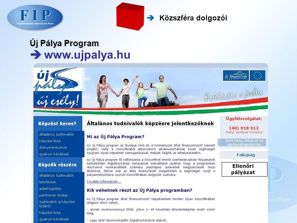  Közszféra dolgozói Új Pálya Program   www.ujpalya.hu