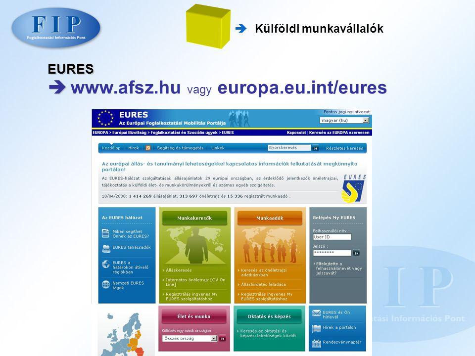 EURES   www.afsz.hu vagy europa.eu.int/eures