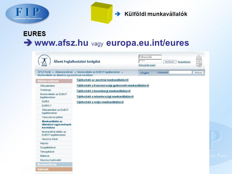  Külföldi munkavállalók EURES   www.afsz.hu vagy europa.eu.int/eures