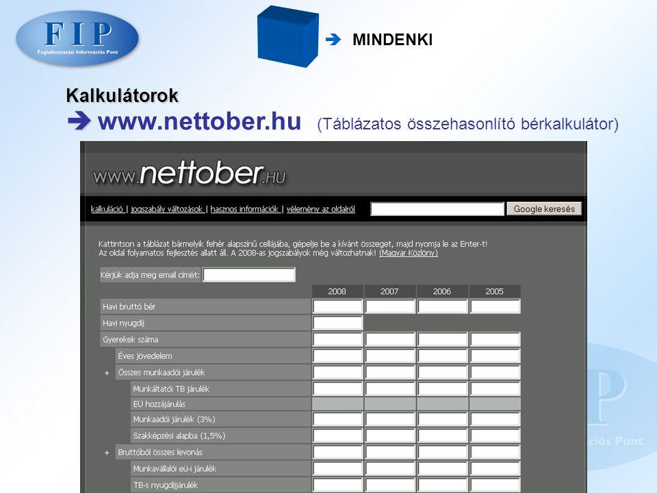 Kalkulátorok   www.nettober.hu (Táblázatos összehasonlító bérkalkulátor)