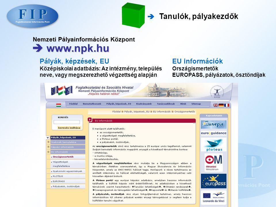 Nemzeti Pályainformációs Központ  www.npk.hu  Tanulók, pályakezdők Pályák, képzések, EU Középiskolai adatbázis: Az intézmény, település neve, vagy m