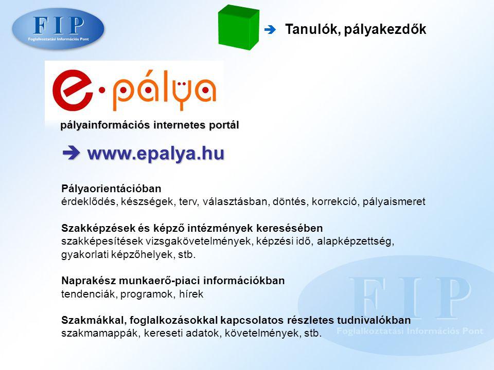 pályainformációs internetes portál  www.epalya.hu  Tanulók, pályakezdők Pályaorientációban érdeklődés, készségek, terv, választásban, döntés, korrek