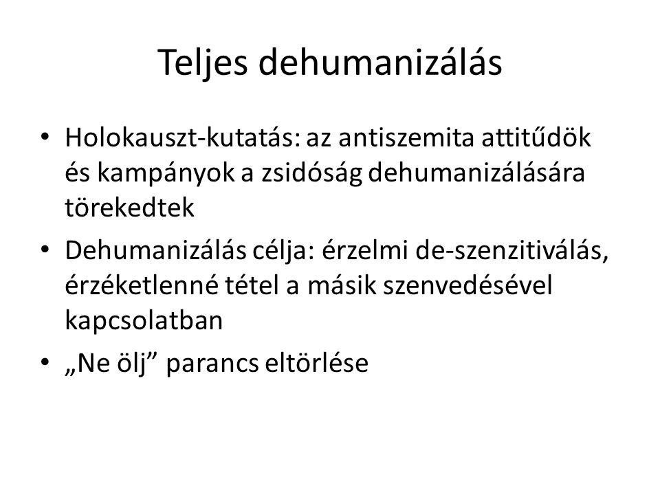 """Teljes dehumanizálás • Holokauszt-kutatás: az antiszemita attitűdök és kampányok a zsidóság dehumanizálására törekedtek • Dehumanizálás célja: érzelmi de-szenzitiválás, érzéketlenné tétel a másik szenvedésével kapcsolatban • """"Ne ölj parancs eltörlése"""