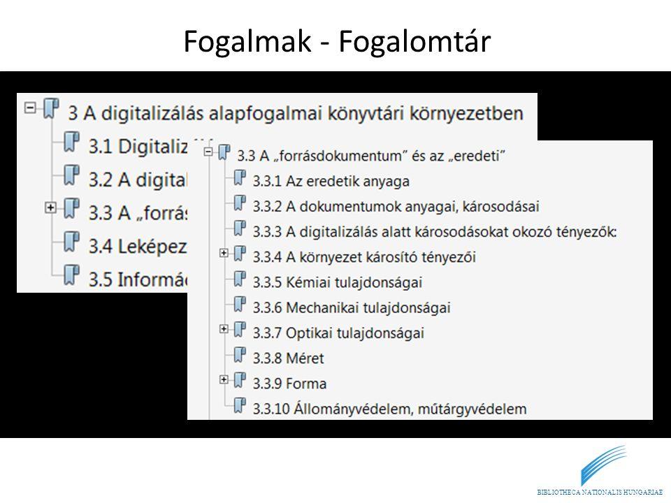 BIBLIOTHECA NATIONALIS HUNGARIAE Fogalmak - Fogalomtár