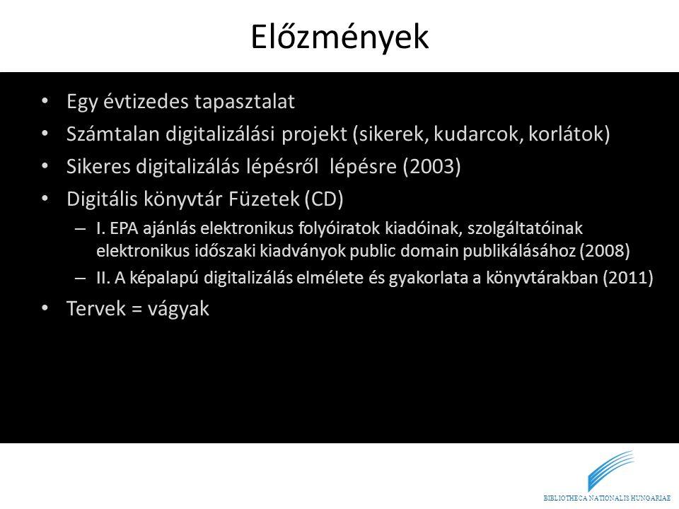 BIBLIOTHECA NATIONALIS HUNGARIAE Előzmények • Egy évtizedes tapasztalat • Számtalan digitalizálási projekt (sikerek, kudarcok, korlátok) • Sikeres dig