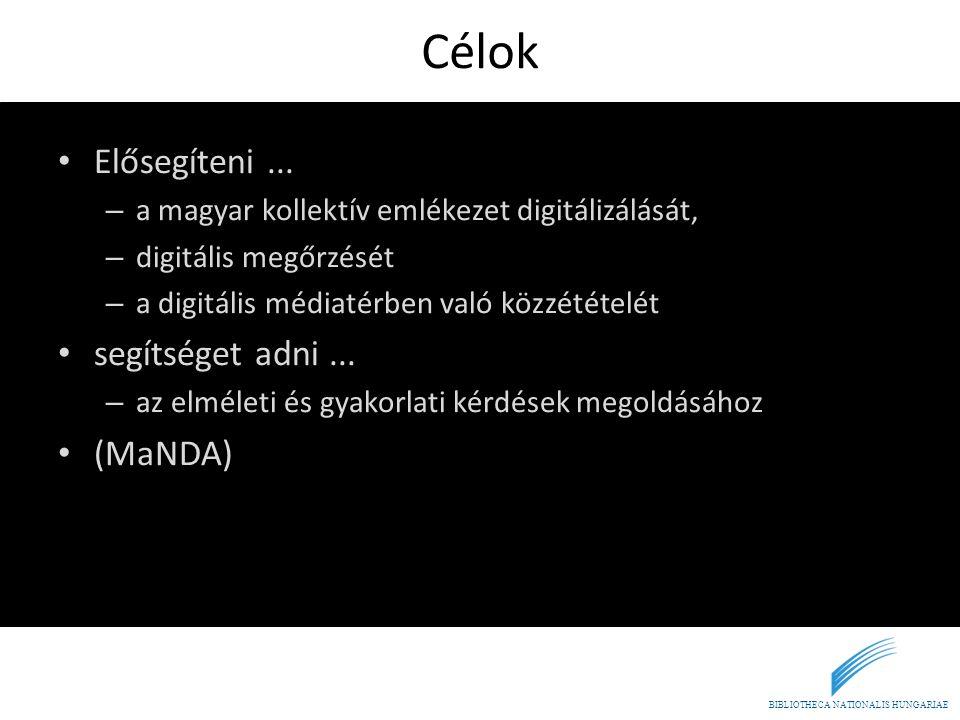BIBLIOTHECA NATIONALIS HUNGARIAE Célok • Elősegíteni... – a magyar kollektív emlékezet digitálizálását, – digitális megőrzését – a digitális médiatérb