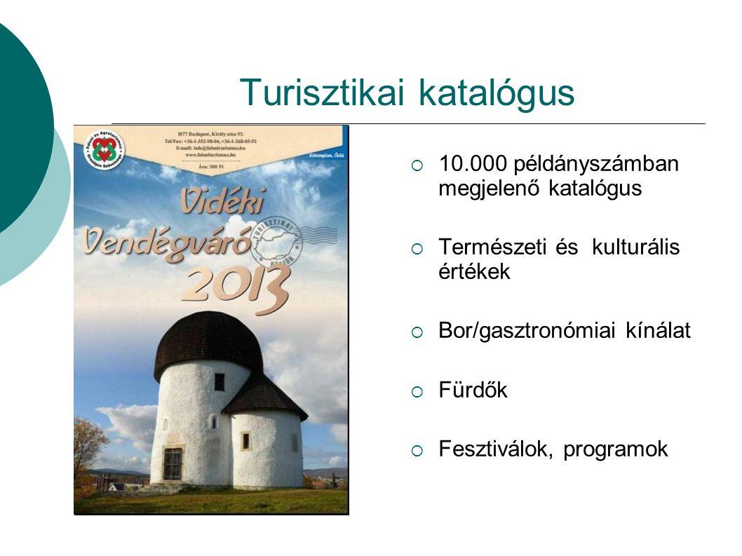 Turisztikai katalógus  10.000 példányszámban megjelenő katalógus  Természeti és kulturális értékek  Bor/gasztronómiai kínálat  Fürdők  Fesztiválo