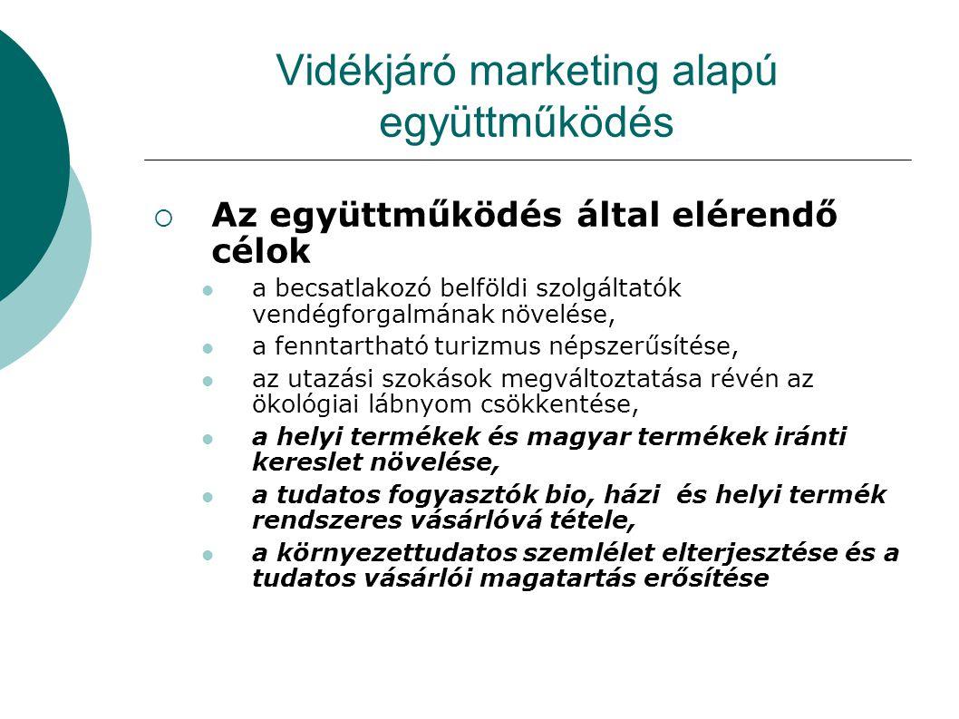 Vidékjáró marketing alapú együttműködés  Az együttműködés által elérendő célok  a becsatlakozó belföldi szolgáltatók vendégforgalmának növelése,  a