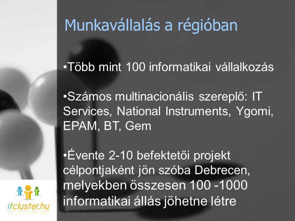 Munkavállalás a régióban •Több mint 100 informatikai vállalkozás •Számos multinacionális szereplő: IT Services, National Instruments, Ygomi, EPAM, BT, Gem •Évente 2-10 befektetői projekt célpontjaként jön szóba Debrecen, melyekben összesen 100 -1000 informatikai állás jöhetne létre