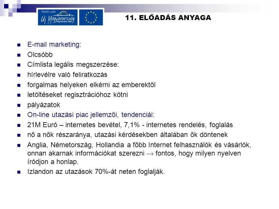 11. ELŐADÁS ANYAGA  E-mail marketing:  Olcsóbb  Címlista legális megszerzése:  hírlevélre való feliratkozás  forgalmas helyeken elkérni az embere