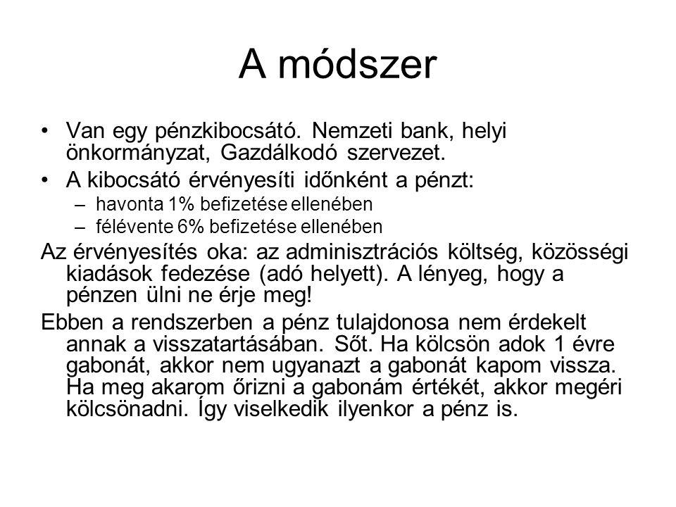 A módszer •Van egy pénzkibocsátó. Nemzeti bank, helyi önkormányzat, Gazdálkodó szervezet.