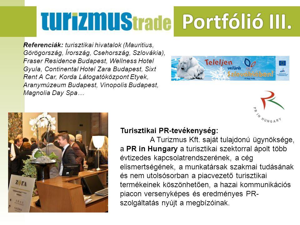 Portfólió III. Portfólió III. Turisztikai PR-tevékenység: A Turizmus Kft.