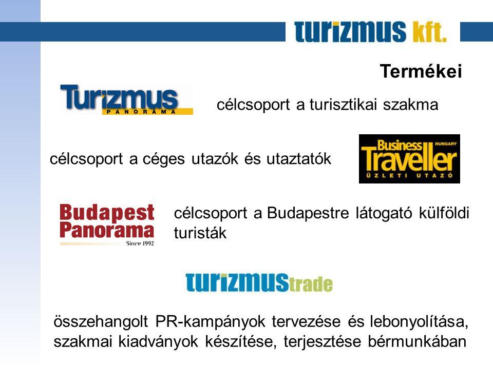 Termékei célcsoport a turisztikai szakma célcsoport a céges utazók és utaztatók célcsoport a Budapestre látogató külföldi turisták összehangolt PR-kampányok tervezése és lebonyolítása, szakmai kiadványok készítése, terjesztése bérmunkában