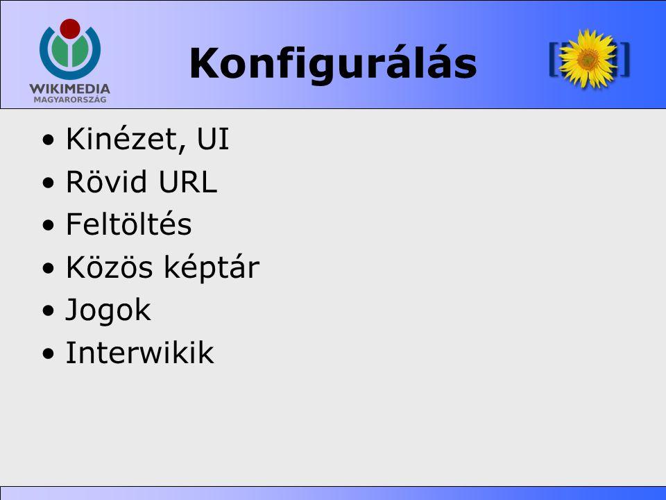 Konfigurálás •Kinézet, UI •Rövid URL •Feltöltés •Közös képtár •Jogok •Interwikik
