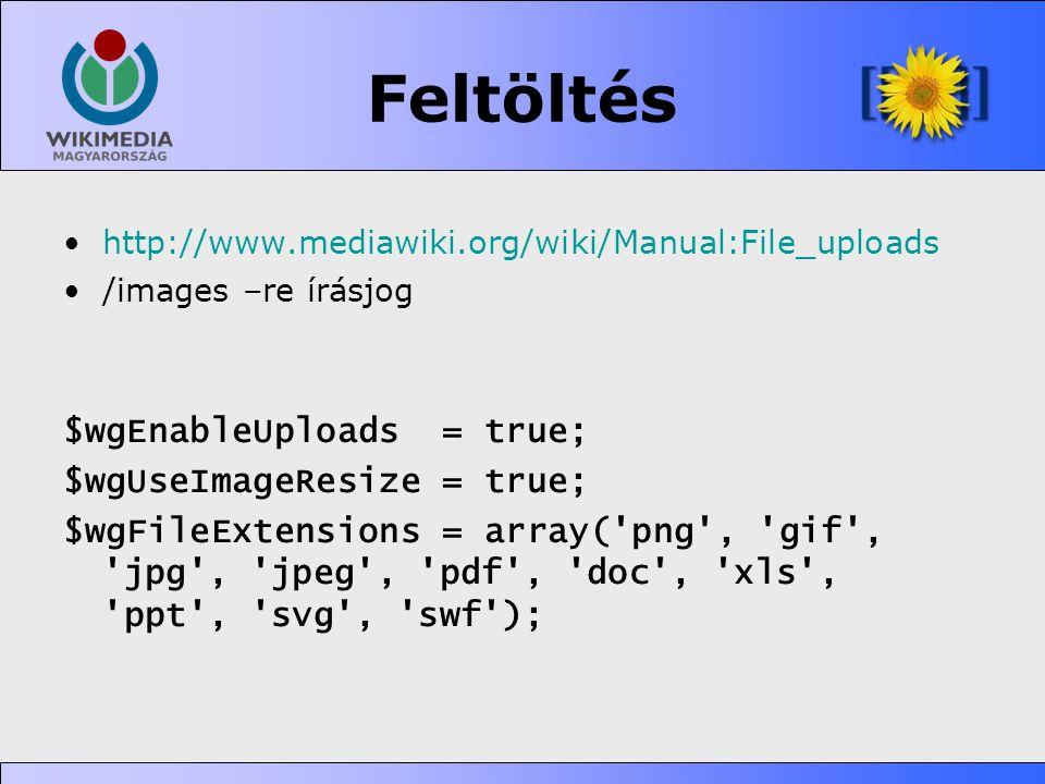Feltöltés •http://www.mediawiki.org/wiki/Manual:File_uploads •/images –re írásjog $wgEnableUploads = true; $wgUseImageResize = true; $wgFileExtensions