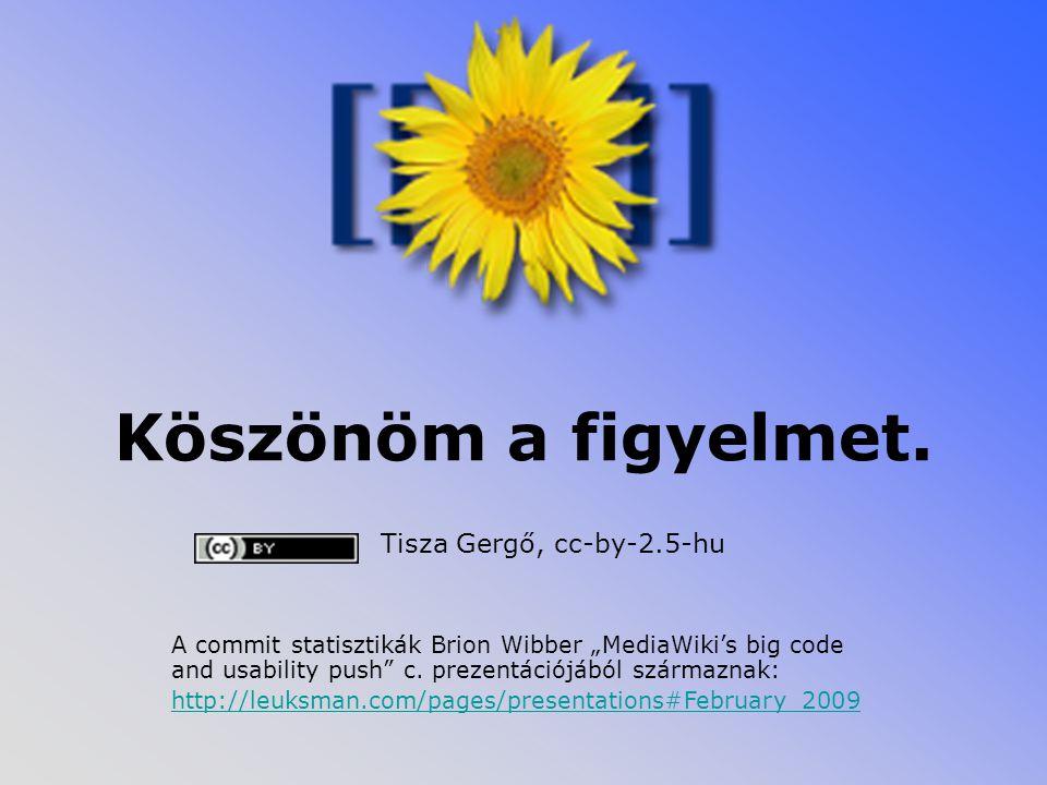 """Köszönöm a figyelmet. Tisza Gergő, cc-by-2.5-hu A commit statisztikák Brion Wibber """"MediaWiki's big code and usability push"""" c. prezentációjából szárm"""