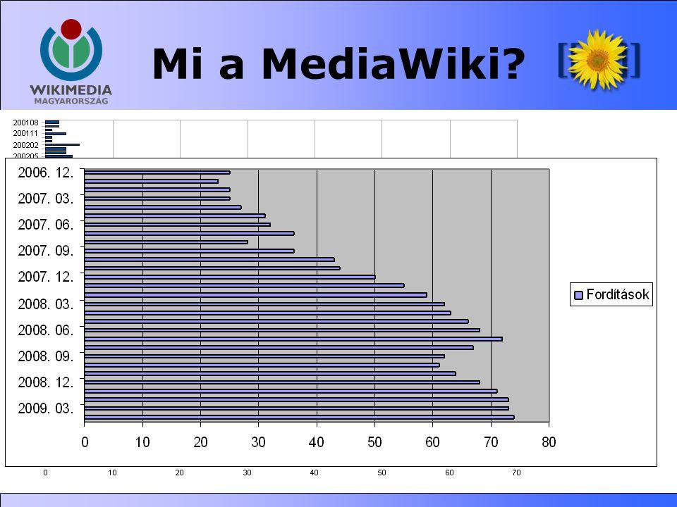 Mi a MediaWiki? •Szabad (GPL) wiki szoftver •PHP+MySQL •rendkívül skálázható •2002-ben kezdték el fejleszteni a UseMod lecserélésére, 2003-tól önálló