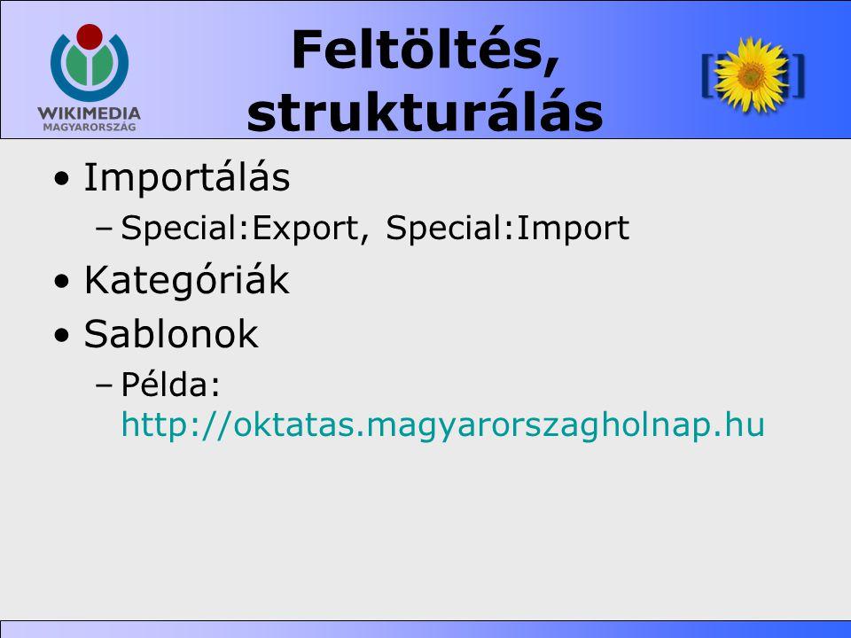 Feltöltés, strukturálás •Importálás –Special:Export, Special:Import •Kategóriák •Sablonok –Példa: http://oktatas.magyarorszagholnap.hu