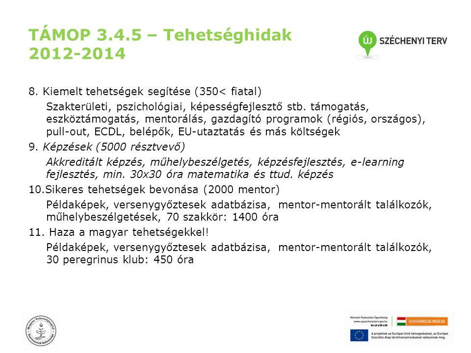 TÁMOP 3.4.5 – Tehetséghidak 2012-2014 8. Kiemelt tehetségek segítése (350< fiatal) Szakterületi, pszichológiai, képességfejlesztő stb. támogatás, eszk