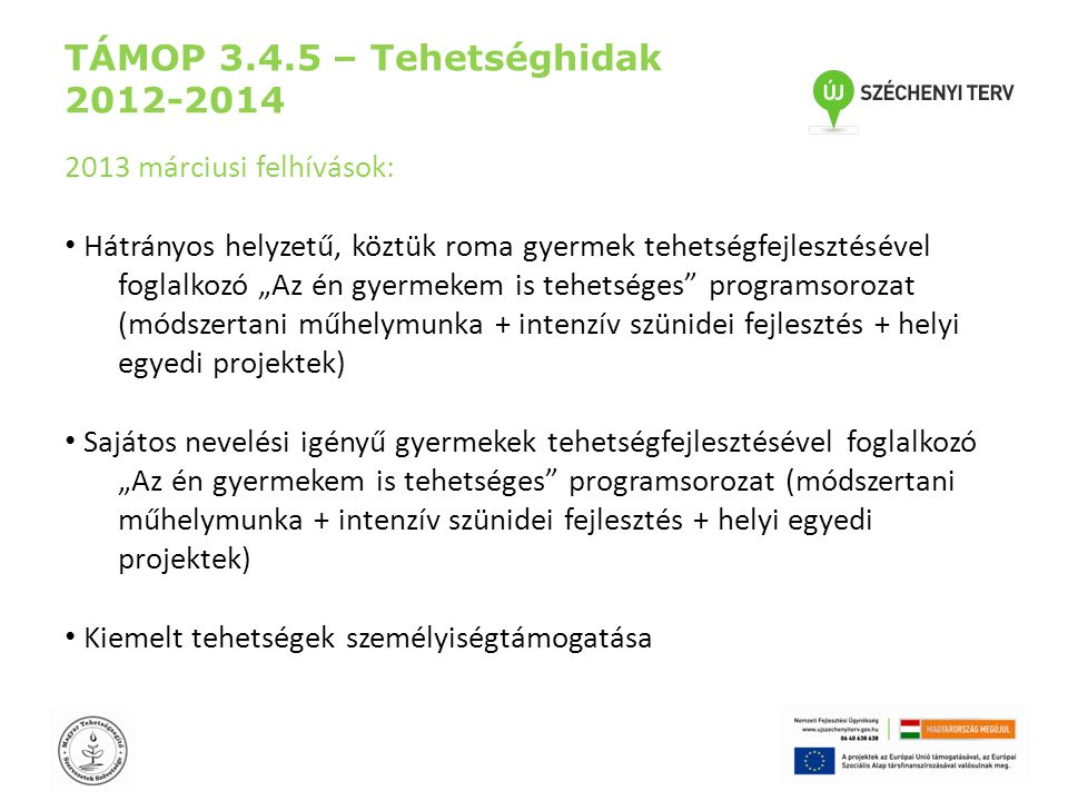 """TÁMOP 3.4.5 – Tehetséghidak 2012-2014 2013 márciusi felhívások: • Hátrányos helyzetű, köztük roma gyermek tehetségfejlesztésével foglalkozó """"Az én gyermekem is tehetséges programsorozat (módszertani műhelymunka + intenzív szünidei fejlesztés + helyi egyedi projektek) • Sajátos nevelési igényű gyermekek tehetségfejlesztésével foglalkozó """"Az én gyermekem is tehetséges programsorozat (módszertani műhelymunka + intenzív szünidei fejlesztés + helyi egyedi projektek) • Kiemelt tehetségek személyiségtámogatása"""