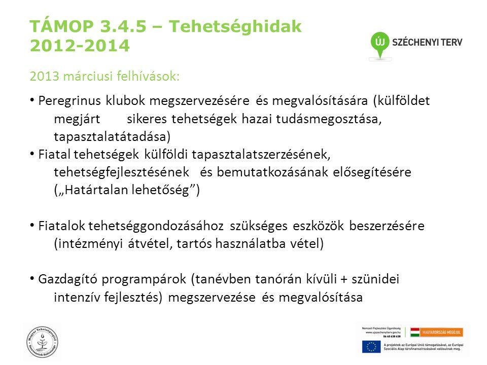 """TÁMOP 3.4.5 – Tehetséghidak 2012-2014 2013 márciusi felhívások: • Peregrinus klubok megszervezésére és megvalósítására (külföldet megjárt sikeres tehetségek hazai tudásmegosztása, tapasztalatátadása) • Fiatal tehetségek külföldi tapasztalatszerzésének, tehetségfejlesztésének és bemutatkozásának elősegítésére (""""Határtalan lehetőség ) • Fiatalok tehetséggondozásához szükséges eszközök beszerzésére (intézményi átvétel, tartós használatba vétel) • Gazdagító programpárok (tanévben tanórán kívüli + szünidei intenzív fejlesztés) megszervezése és megvalósítása"""
