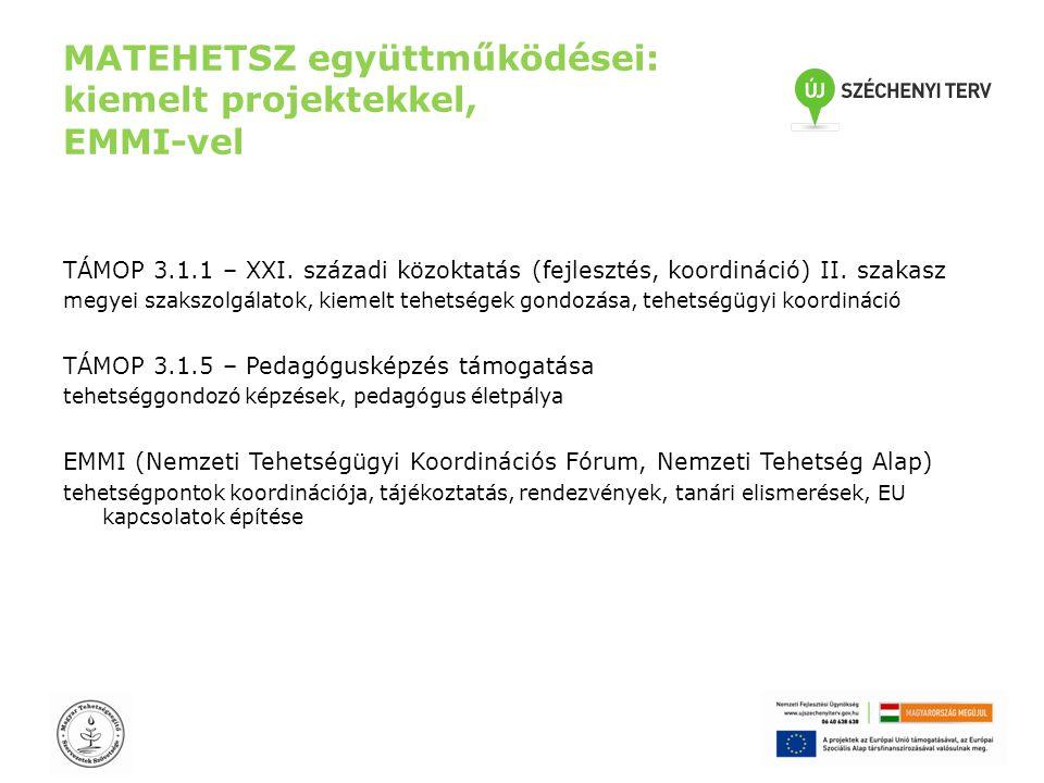 MATEHETSZ együttműködései: kiemelt projektekkel, EMMI-vel TÁMOP 3.1.1 – XXI. századi közoktatás (fejlesztés, koordináció) II. szakasz megyei szakszolg