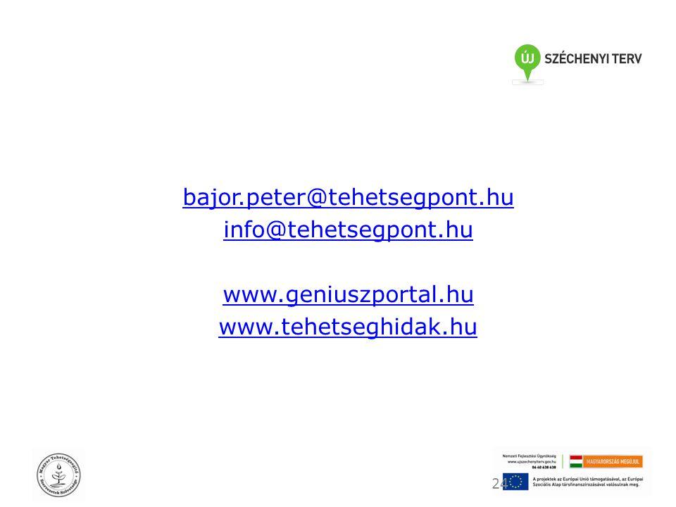 bajor.peter@tehetsegpont.hu info@tehetsegpont.hu www.geniuszportal.hu www.tehetseghidak.hu 24