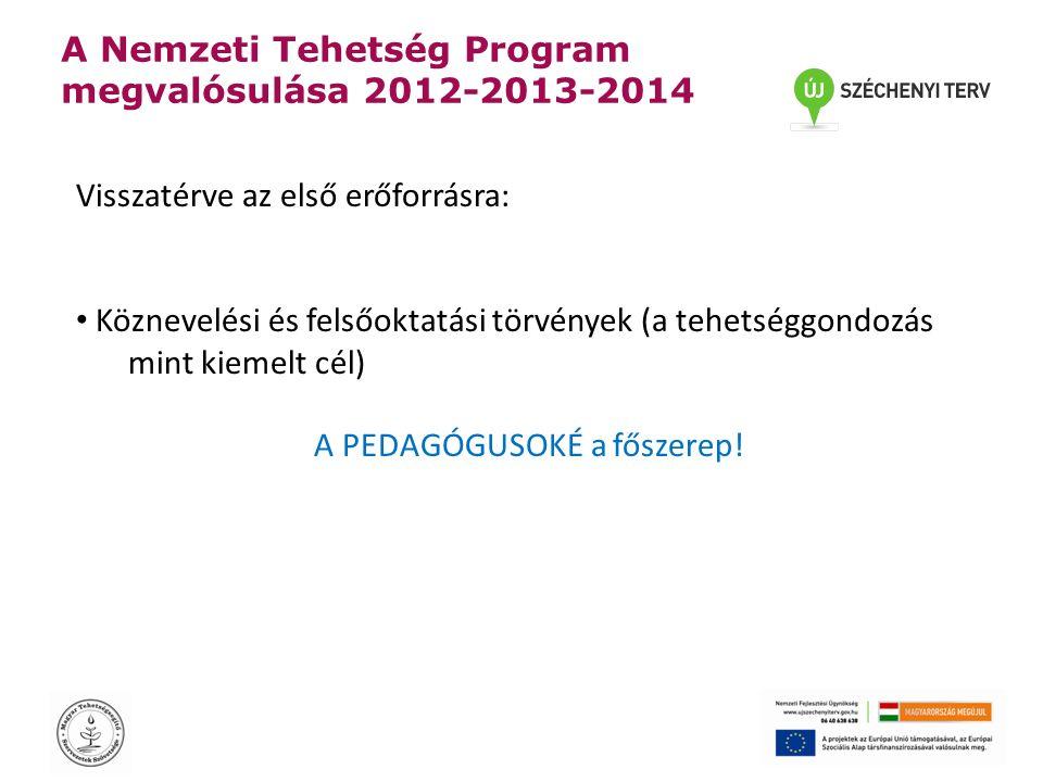 A Nemzeti Tehetség Program megvalósulása 2012-2013-2014 Visszatérve az első erőforrásra: • Köznevelési és felsőoktatási törvények (a tehetséggondozás