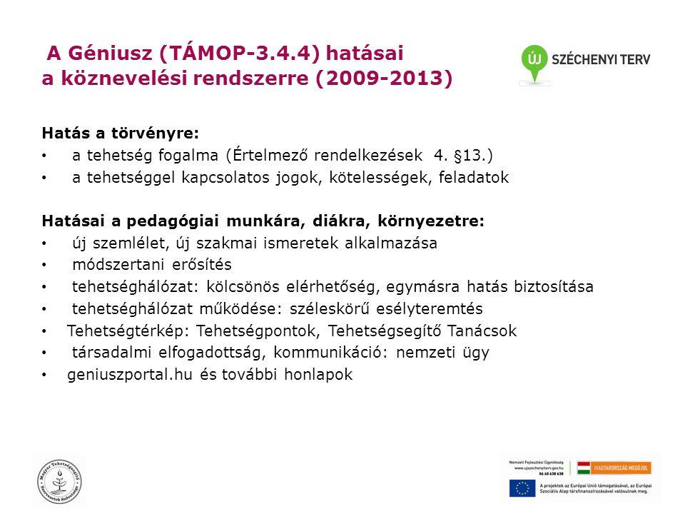 A Géniusz (TÁMOP-3.4.4) hatásai a köznevelési rendszerre (2009-2013) Hatás a törvényre: • a tehetség fogalma (Értelmező rendelkezések 4.