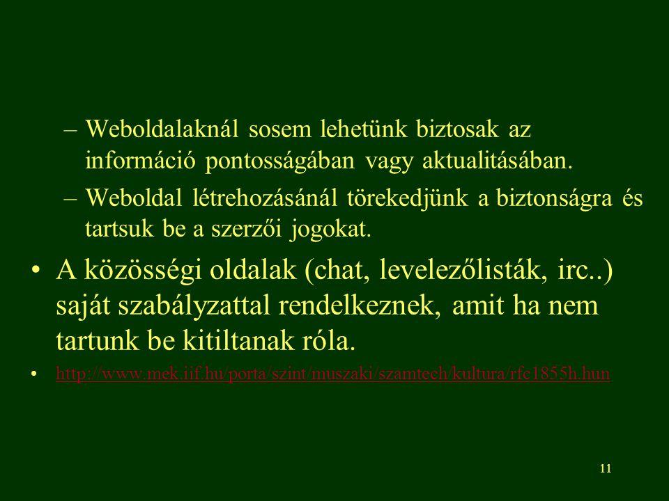 11 –Weboldalaknál sosem lehetünk biztosak az információ pontosságában vagy aktualitásában. –Weboldal létrehozásánál törekedjünk a biztonságra és tarts