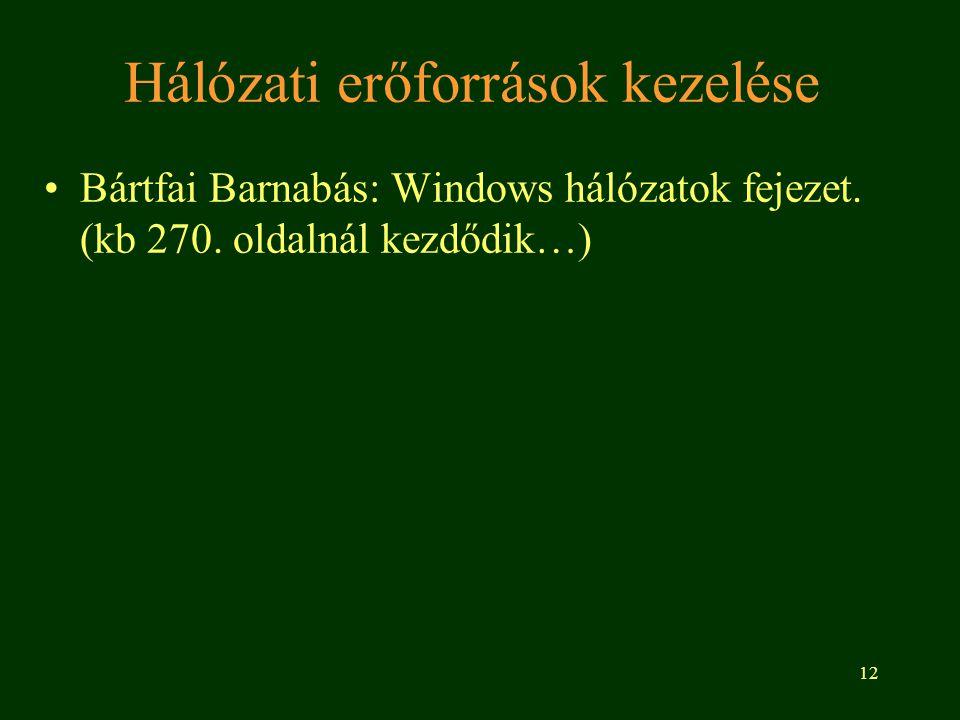 12 Hálózati erőforrások kezelése •Bártfai Barnabás: Windows hálózatok fejezet. (kb 270. oldalnál kezdődik…)