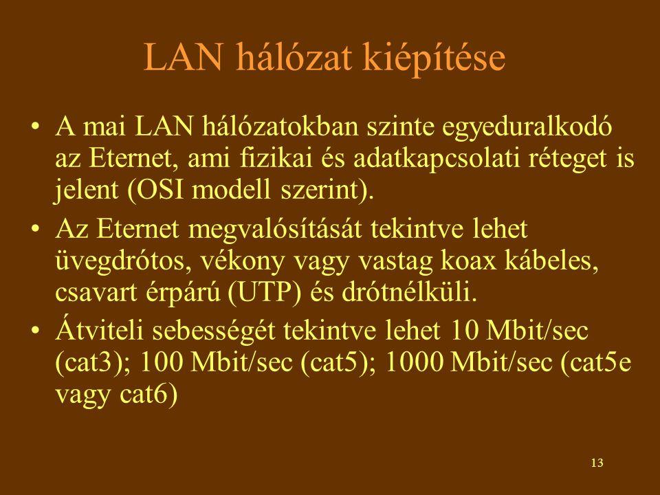 13 LAN hálózat kiépítése •A mai LAN hálózatokban szinte egyeduralkodó az Eternet, ami fizikai és adatkapcsolati réteget is jelent (OSI modell szerint)