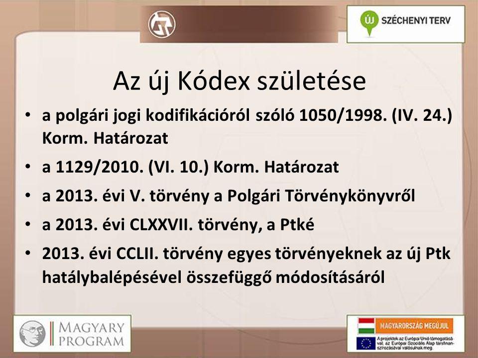 Az új Kódex születése • a polgári jogi kodifikációról szóló 1050/1998.