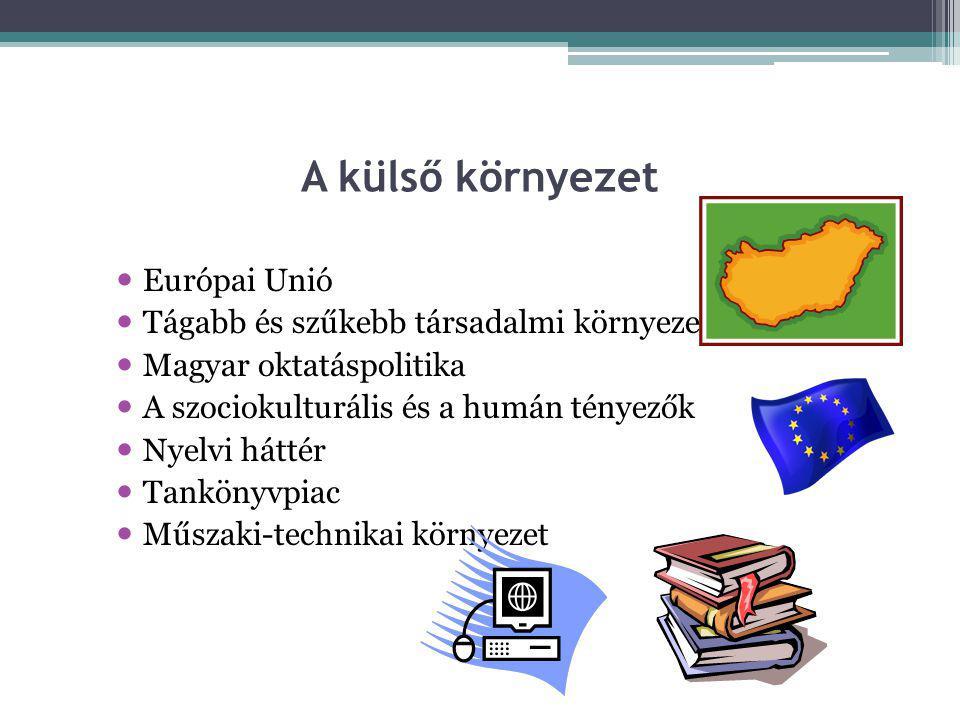 A külső környezet  Európai Unió  Tágabb és szűkebb társadalmi környezet  Magyar oktatáspolitika  A szociokulturális és a humán tényezők  Nyelvi h
