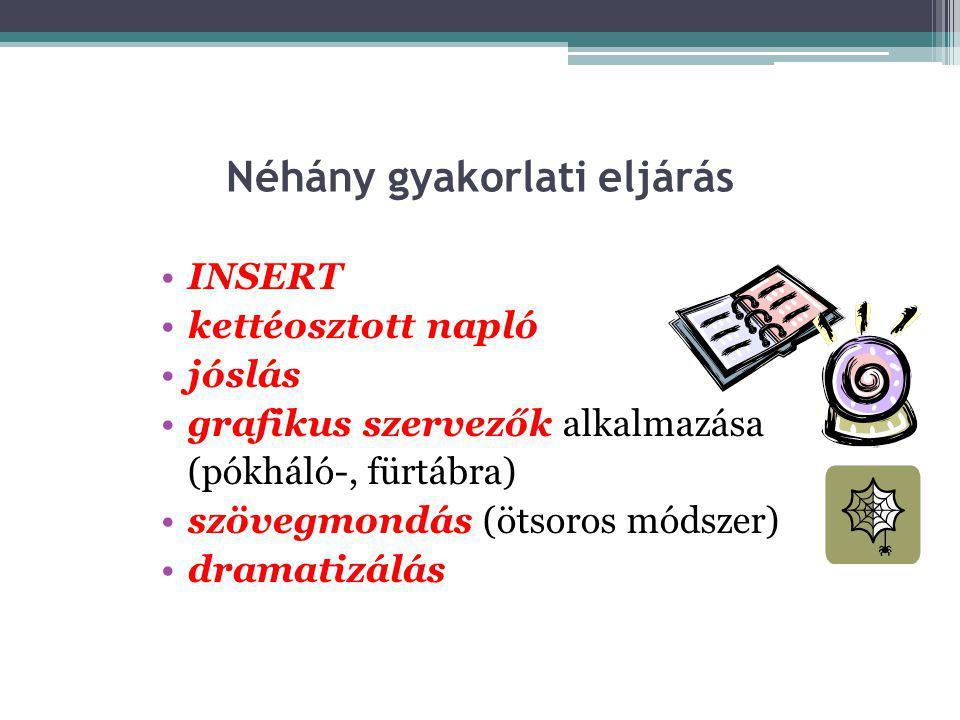 Néhány gyakorlati eljárás •INSERT •kettéosztott napló •jóslás •grafikus szervezők alkalmazása (pókháló-, fürtábra) •szövegmondás (ötsoros módszer) •dramatizálás